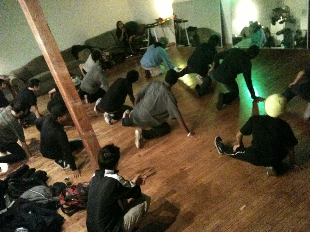 Room full of breakdancers